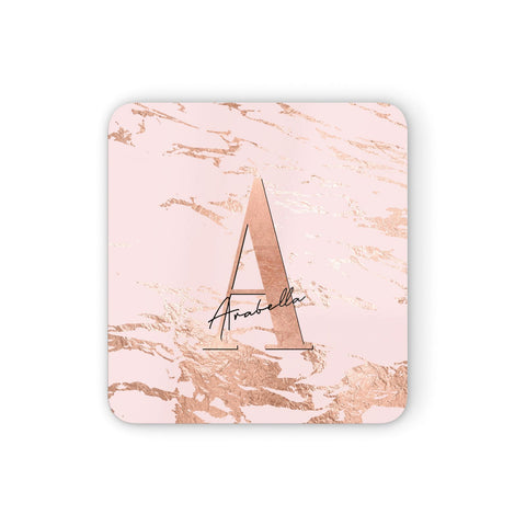Personalised Copper Pink Marble Coasters set of 4