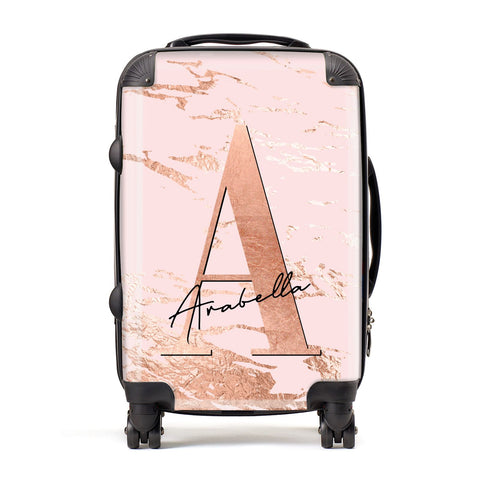 Personalised Copper Pink Marble Suitcase
