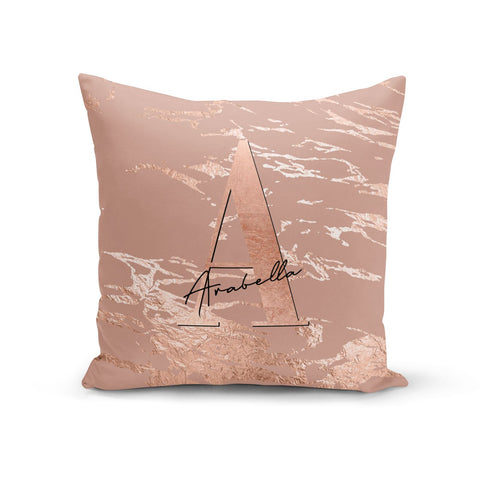 Personalised Copper Taupe Marble Cushion