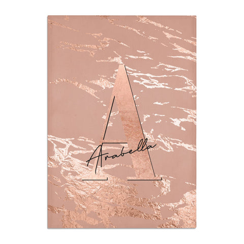 Personalised Copper Taupe Marble Tea Towel