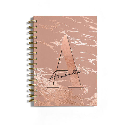 Personalised Copper Taupe Marble Notebook