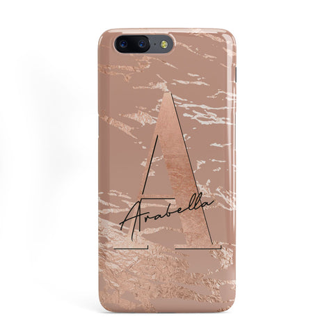 Personalised Copper Taupe Marble OnePlus Case