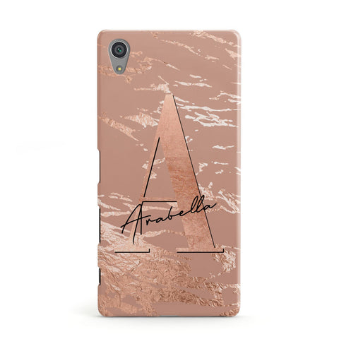 Personalised Copper Taupe Marble Sony Case