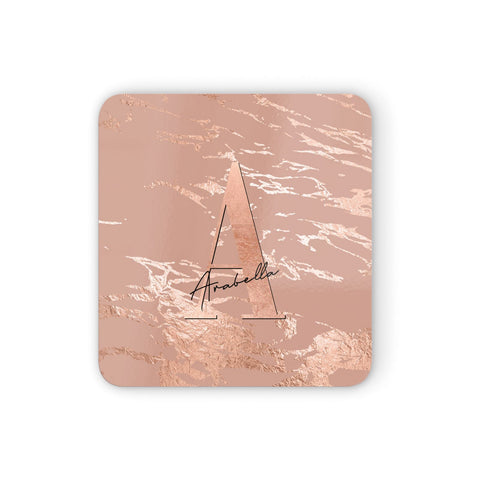 Personalised Copper Taupe Marble Coasters set of 4