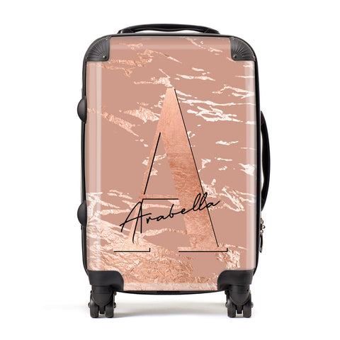 Personalised Copper Taupe Marble Suitcase