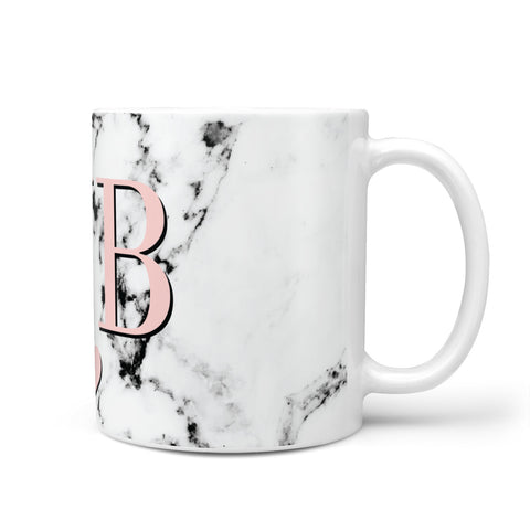 Personalised Coral Heart Initial & Marble Mug