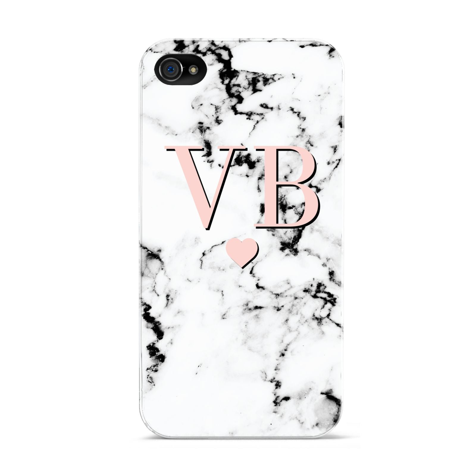 Personalised Coral Heart Initial Marble Apple iPhone 4s Case