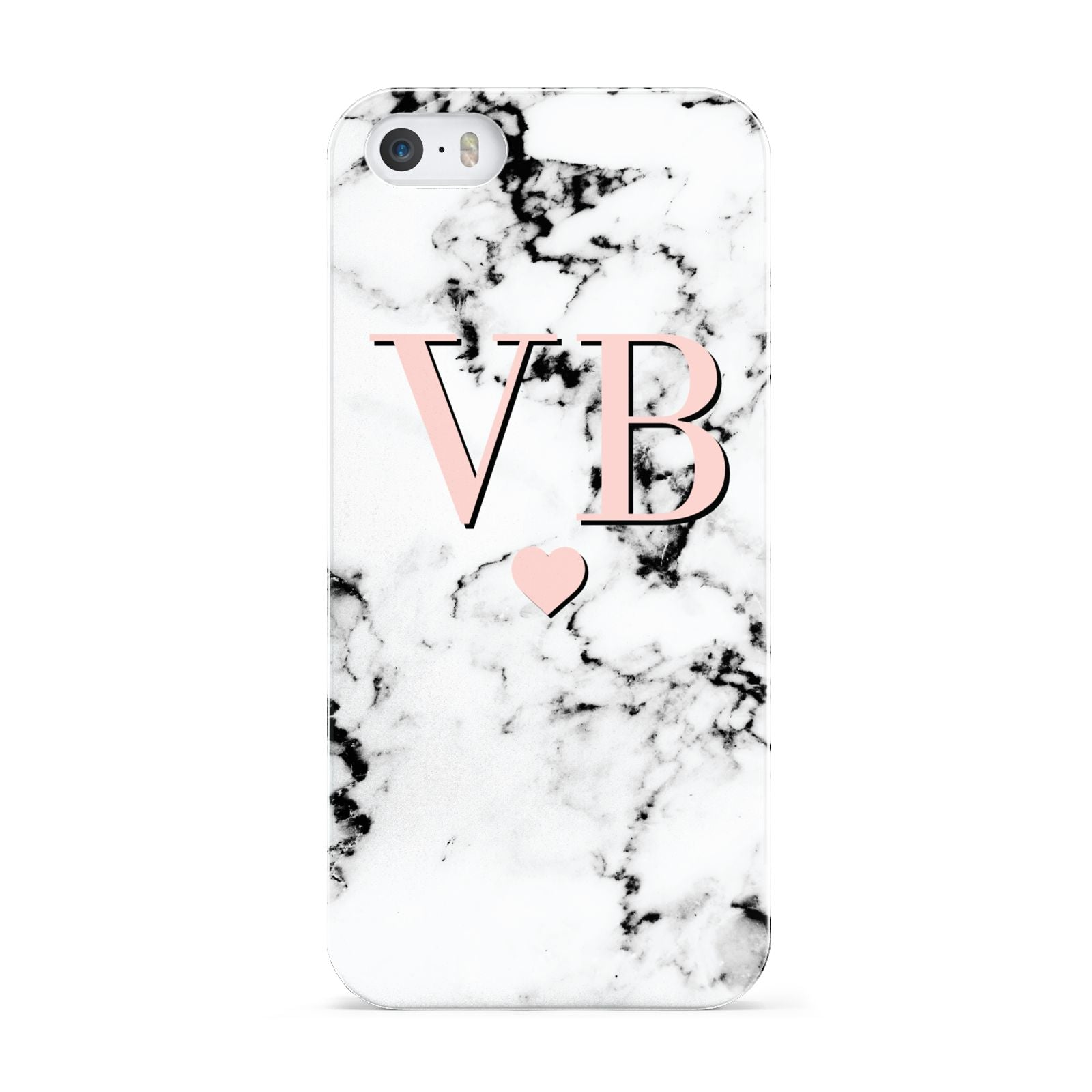Personalised Coral Heart Initial Marble Apple iPhone 5 Case