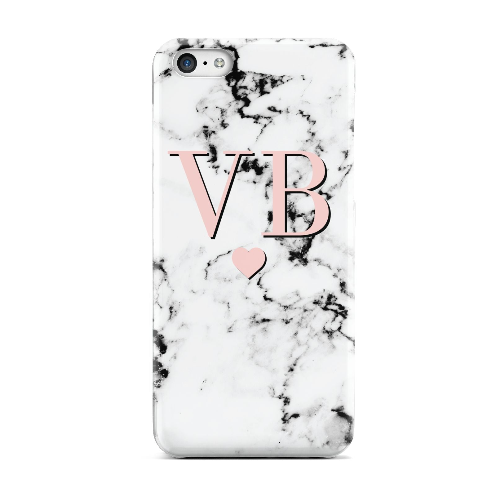 Personalised Coral Heart Initial Marble Apple iPhone 5c Case