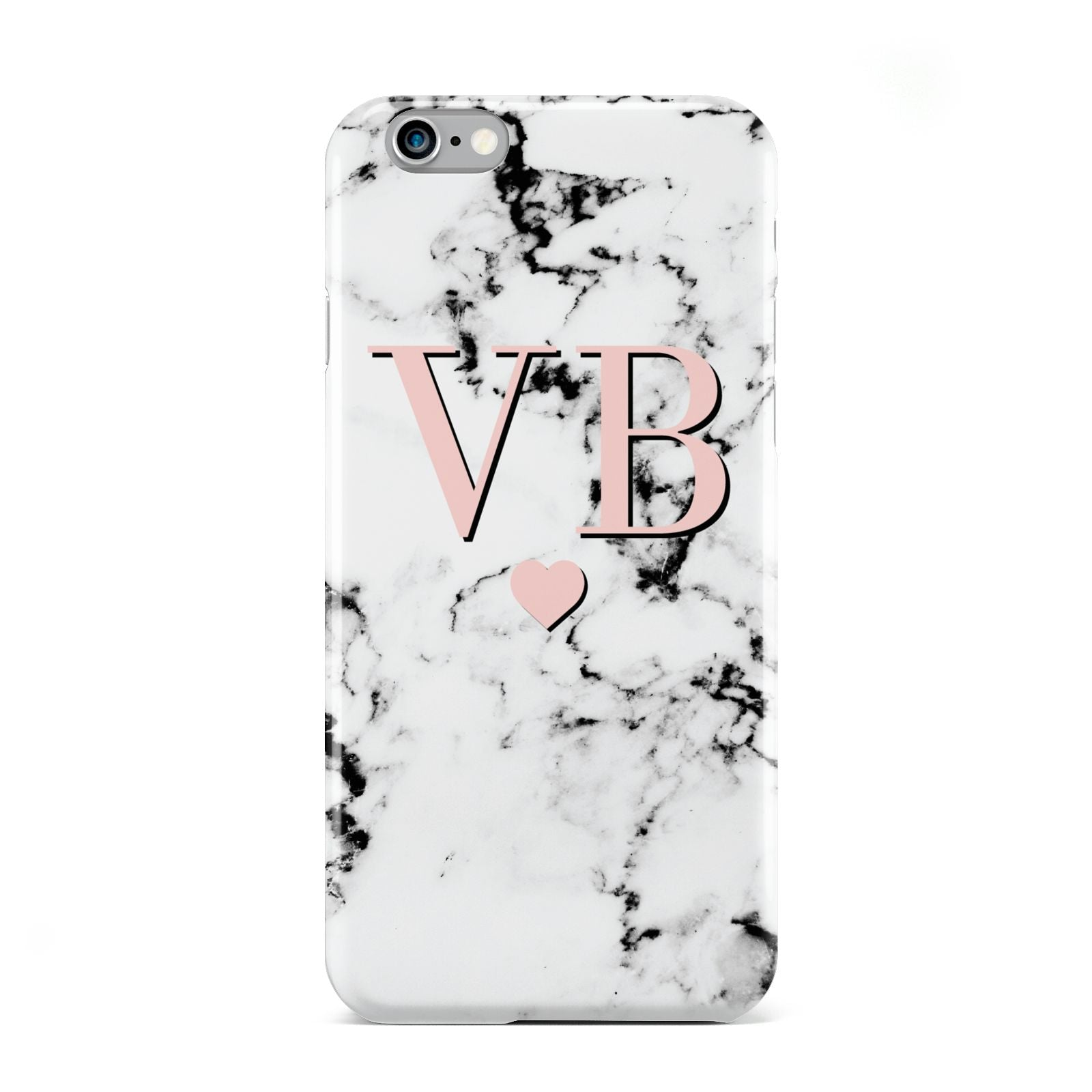 Personalised Coral Heart Initial Marble Apple iPhone 6 Case