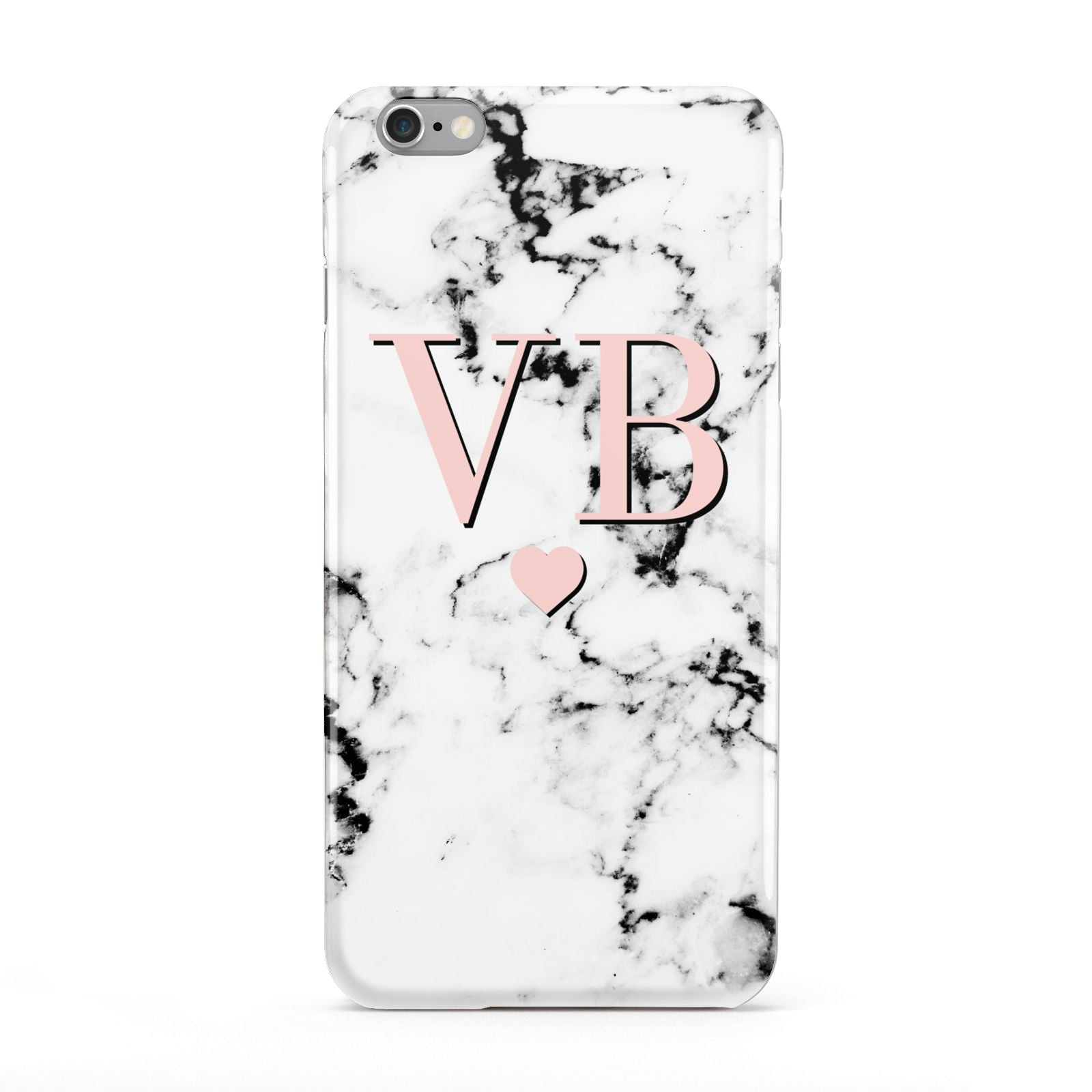 Personalised Coral Heart Initial Marble Apple iPhone 6 Plus Case
