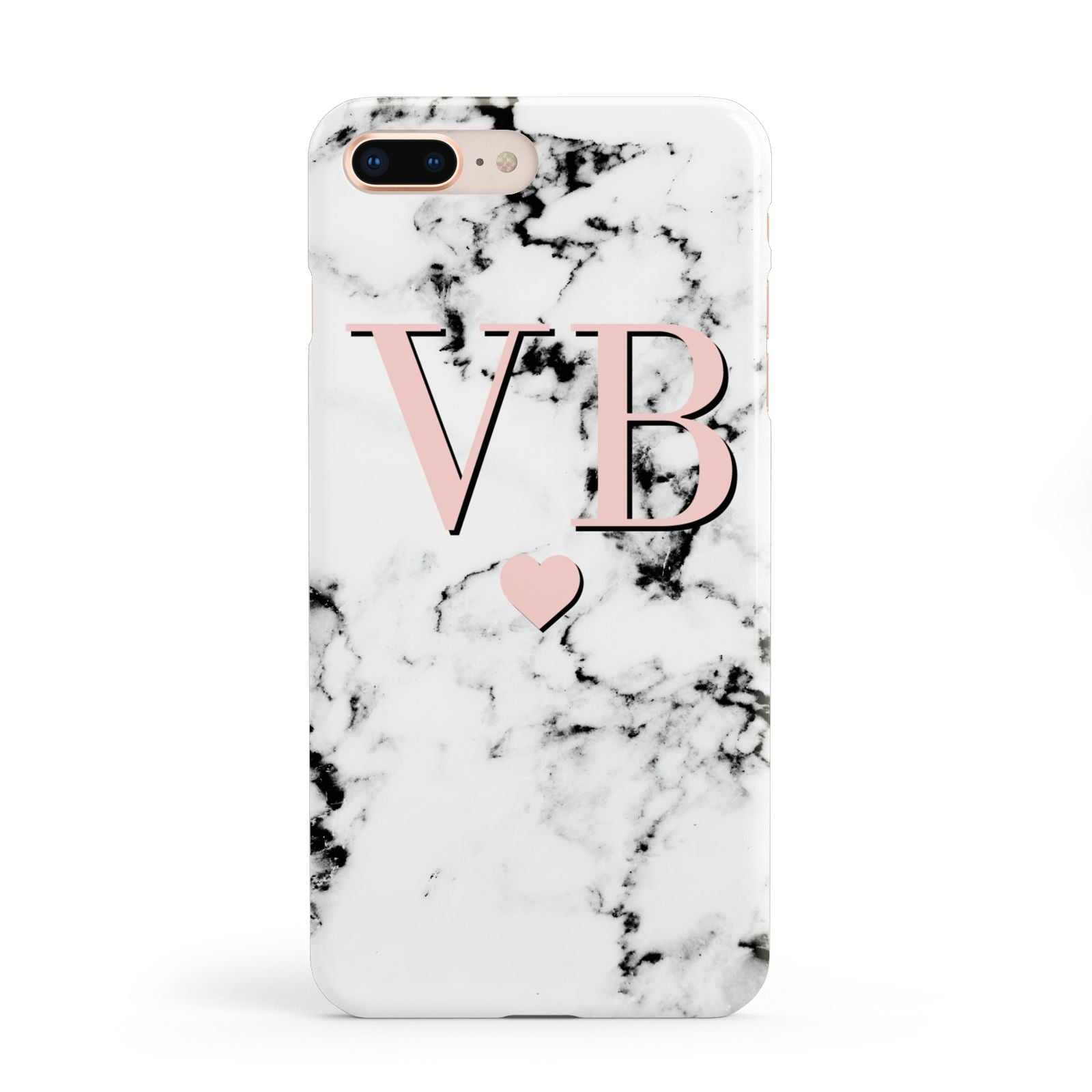 Personalised Coral Heart Initial Marble Apple iPhone 8 Plus Case