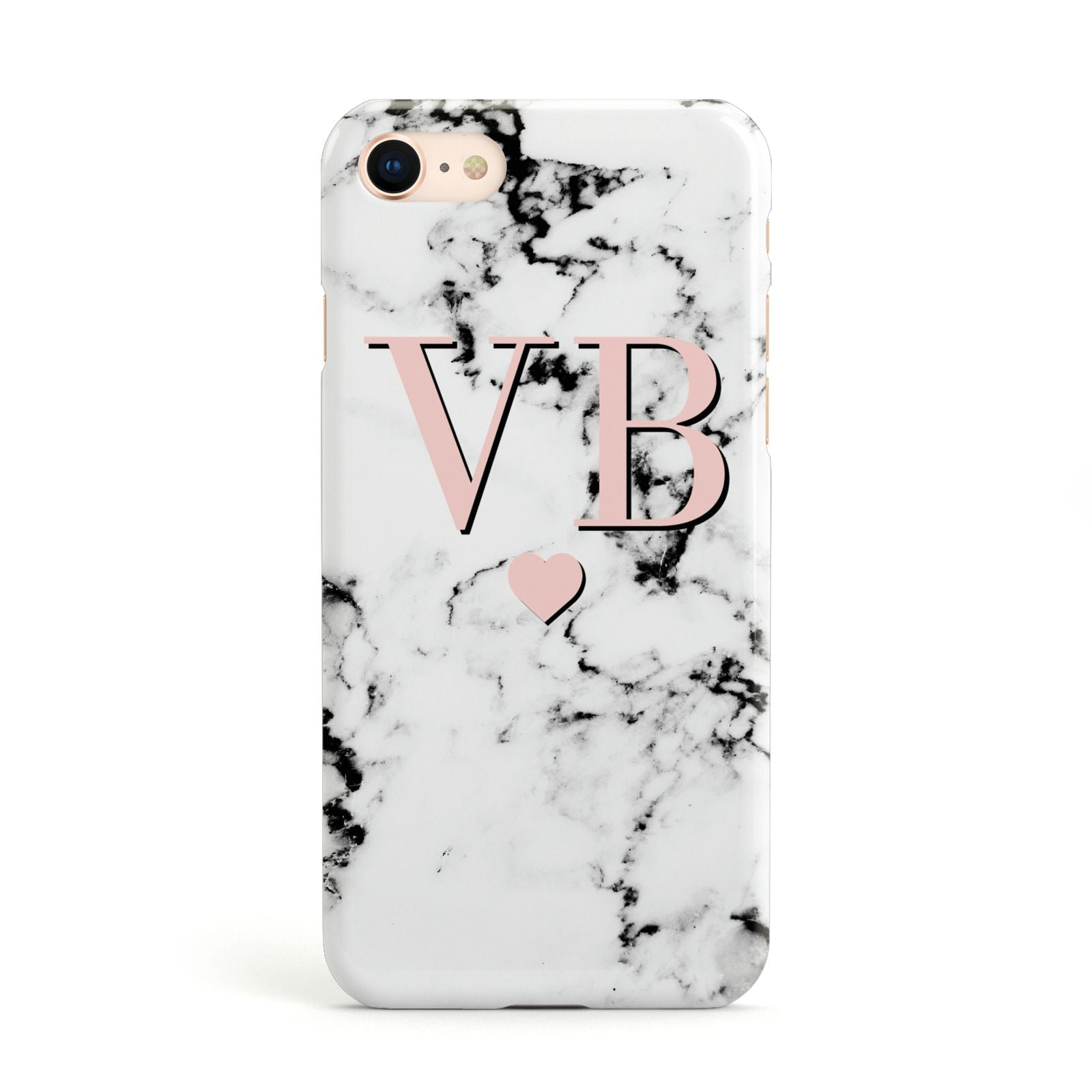Personalised Coral Heart Initial Marble Apple iPhone Case