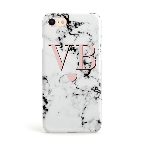 Personalised Coral Heart Initial & Marble Apple iPhone Case