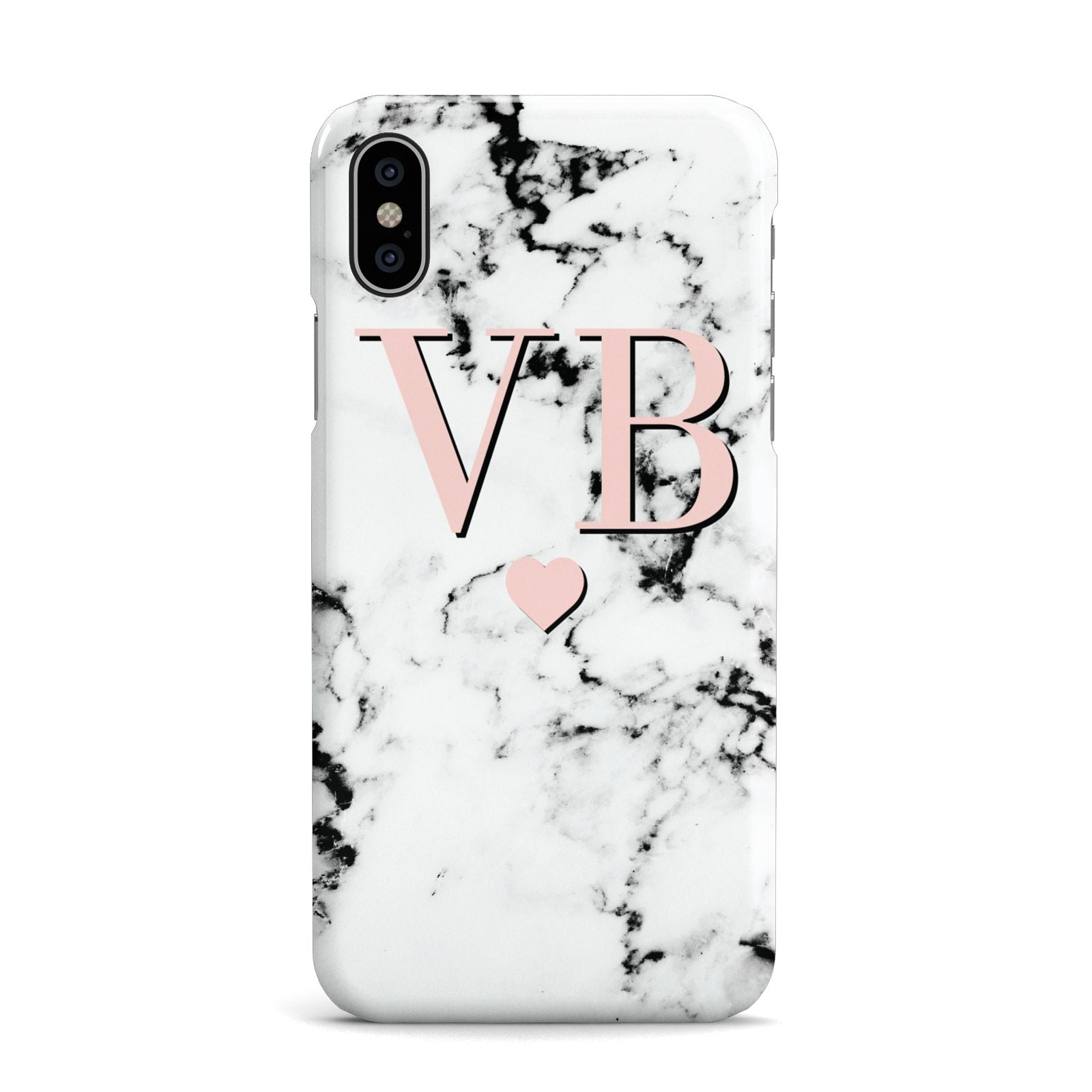 Personalised Coral Heart Initial Marble Apple iPhone X Case