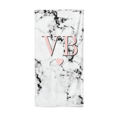 Personalised Coral Heart Initial & Marble Beach Towel
