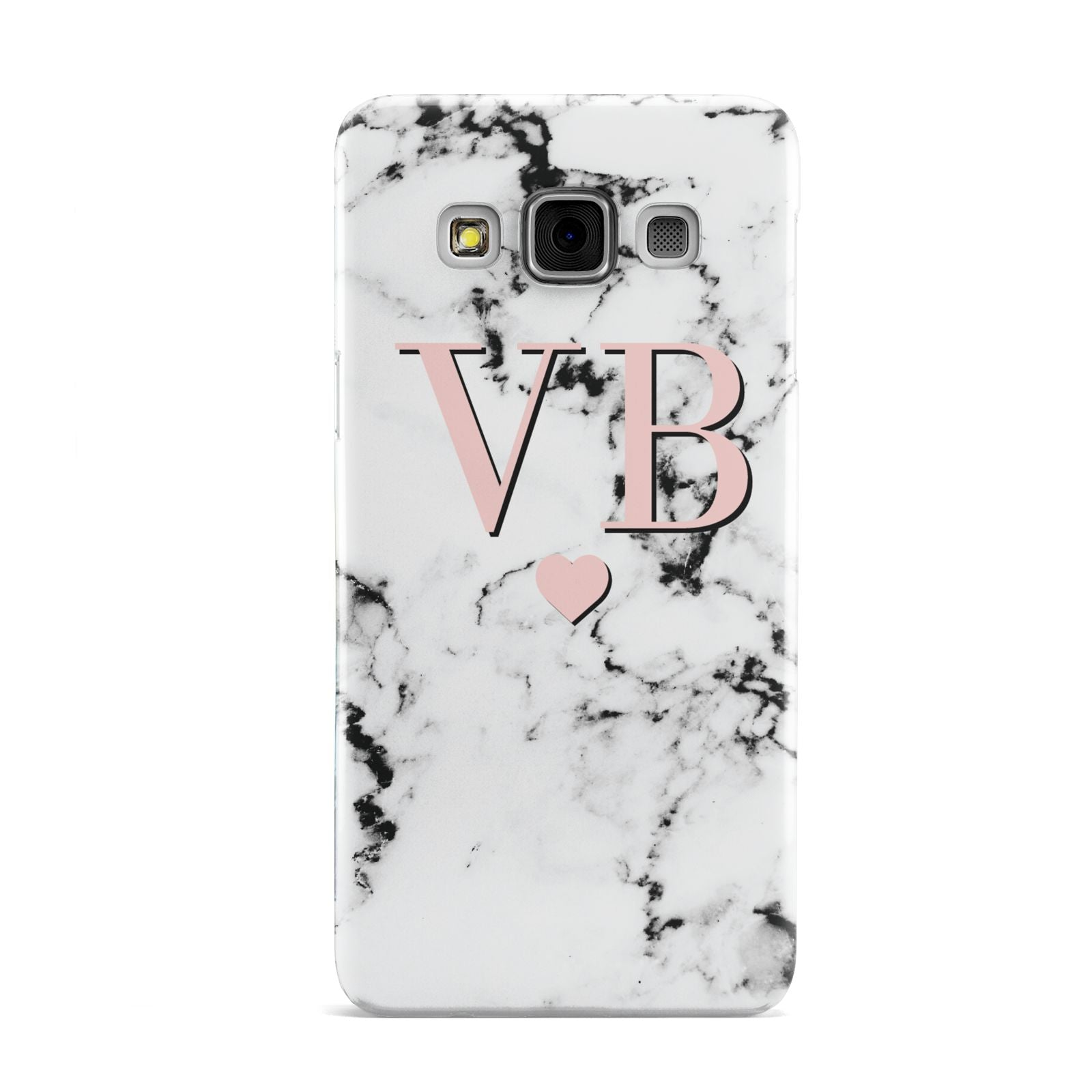 Personalised Coral Heart Initial Marble Samsung Galaxy A3 Case
