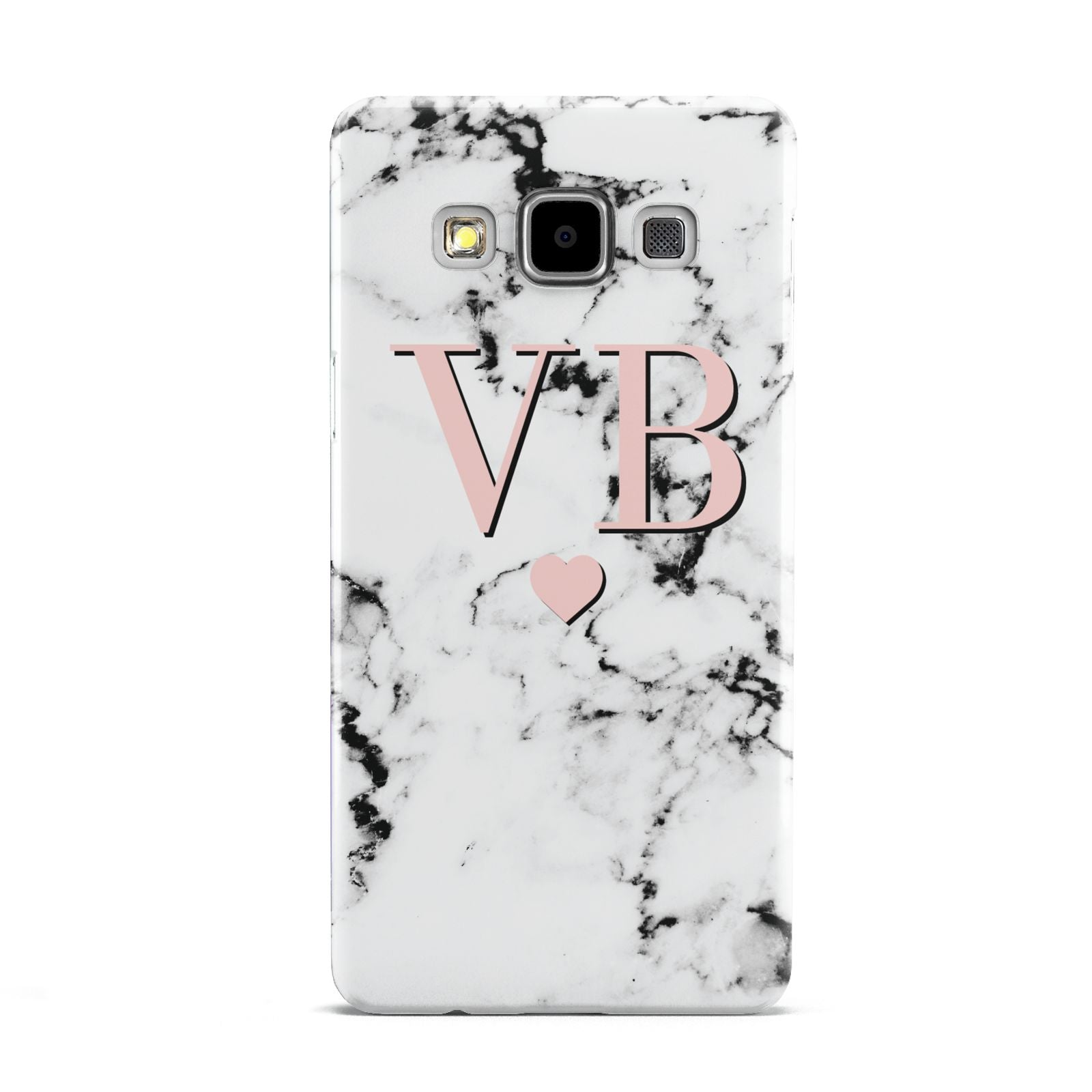 Personalised Coral Heart Initial Marble Samsung Galaxy A5 Case