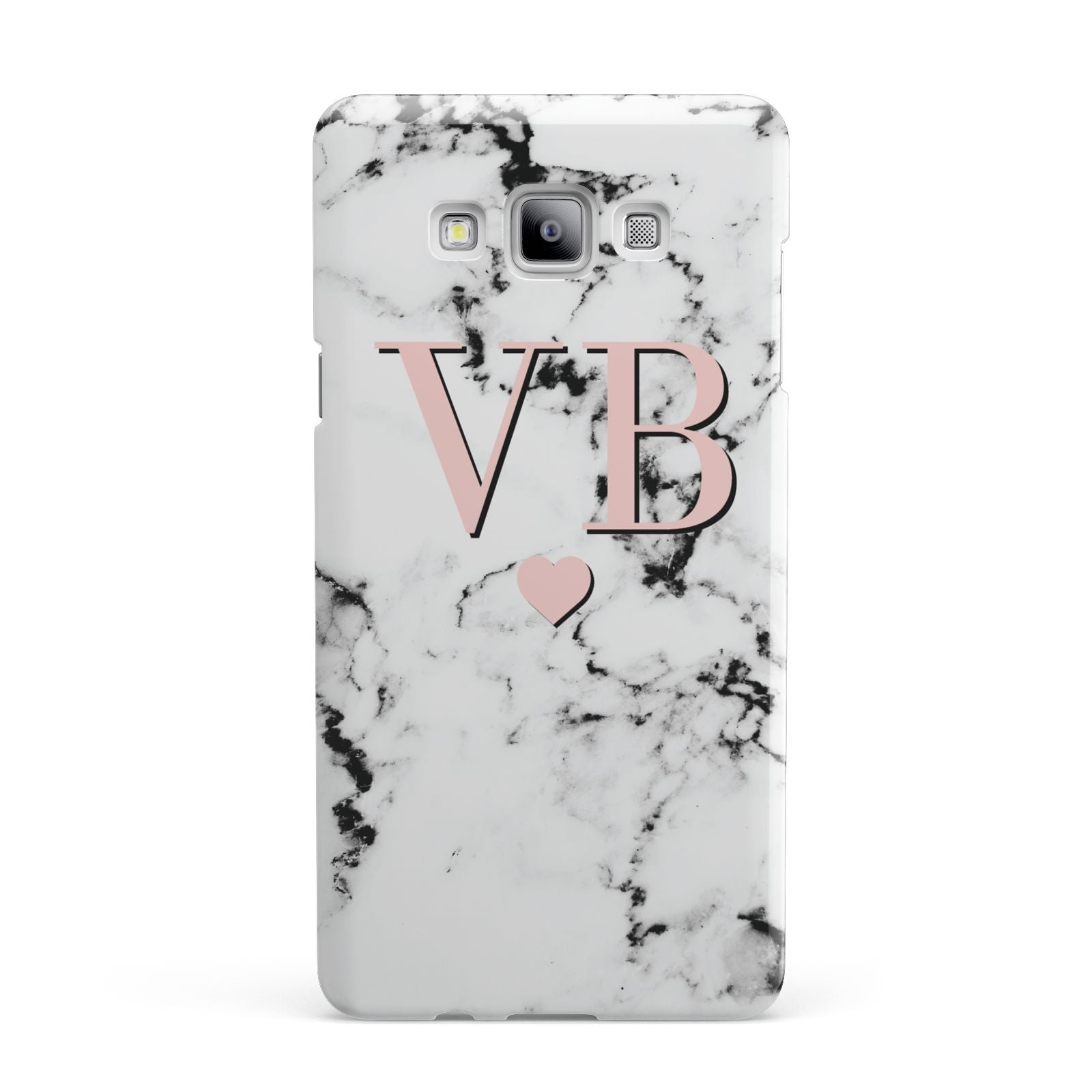 Personalised Coral Heart Initial Marble Samsung Galaxy A7 2015 Case