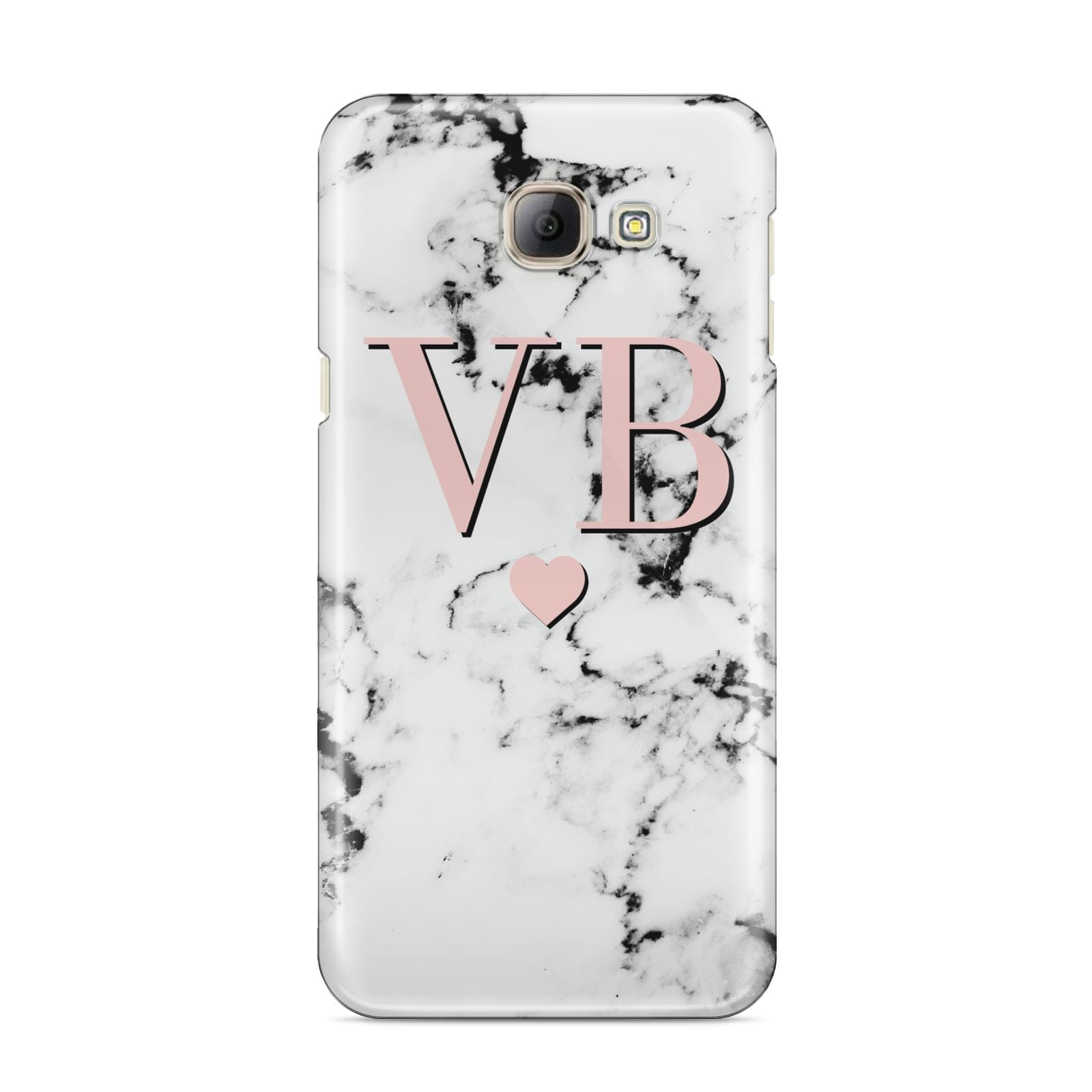 Personalised Coral Heart Initial Marble Samsung Galaxy A8 2016 Case