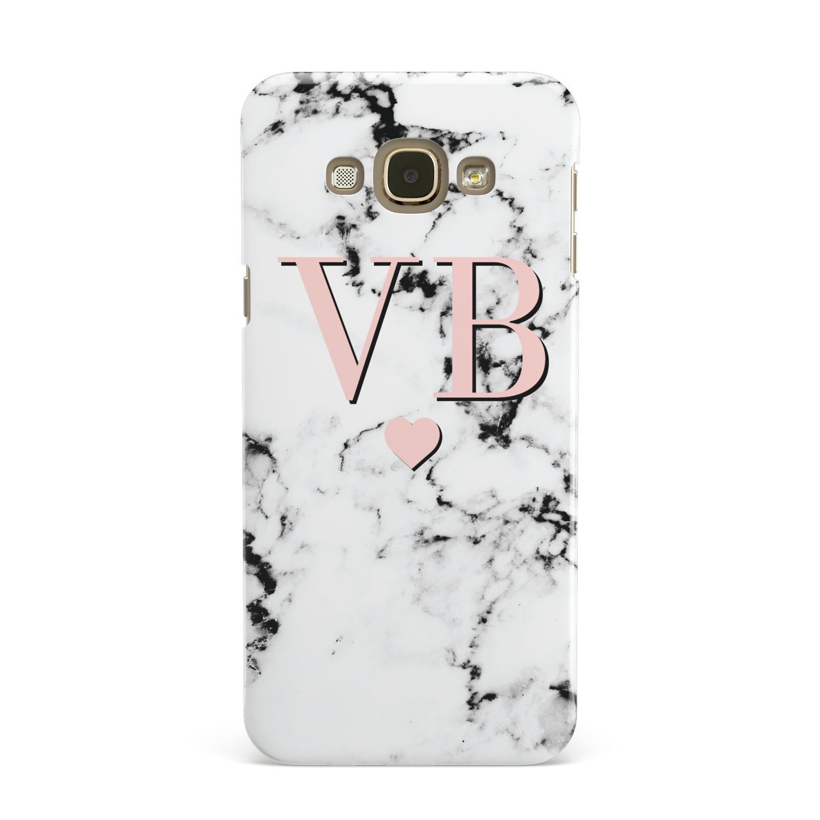 Personalised Coral Heart Initial Marble Samsung Galaxy A8 Case