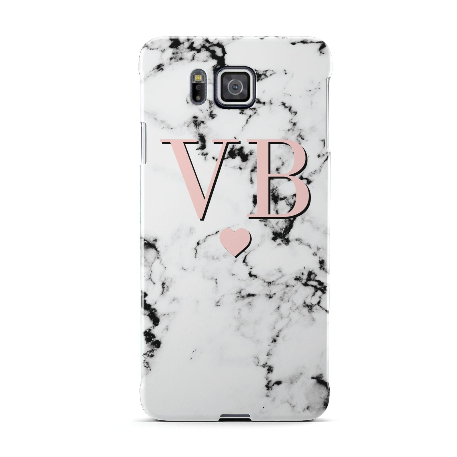 Personalised Coral Heart Initial Marble Samsung Galaxy Alpha Case