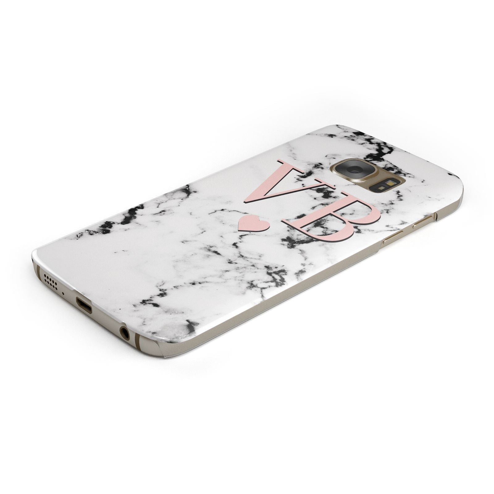 Personalised Coral Heart Initial Marble Samsung Galaxy Case Bottom Cutout