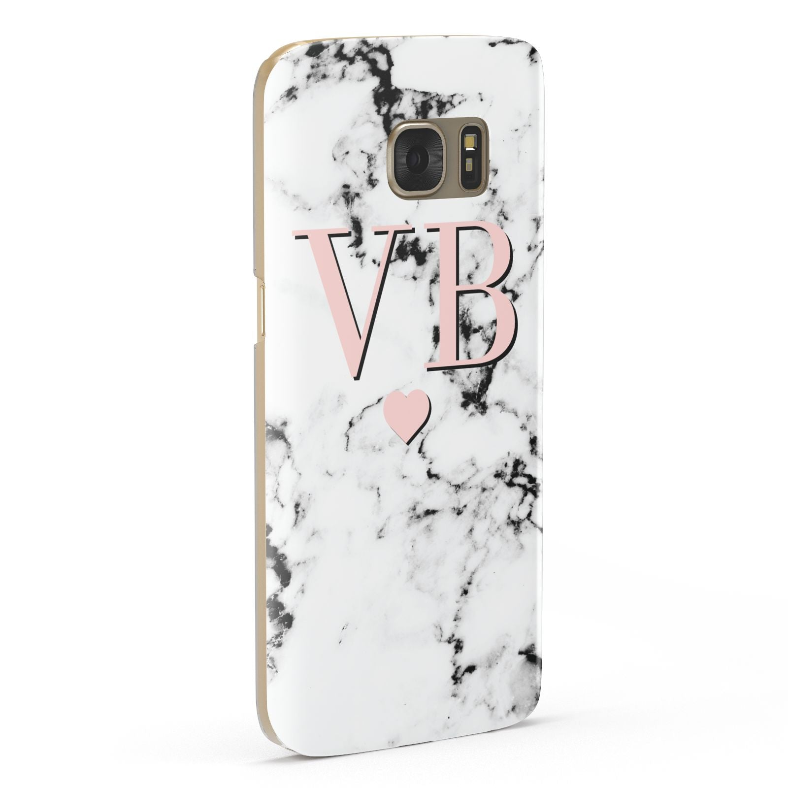 Personalised Coral Heart Initial Marble Samsung Galaxy Case Fourty Five Degrees