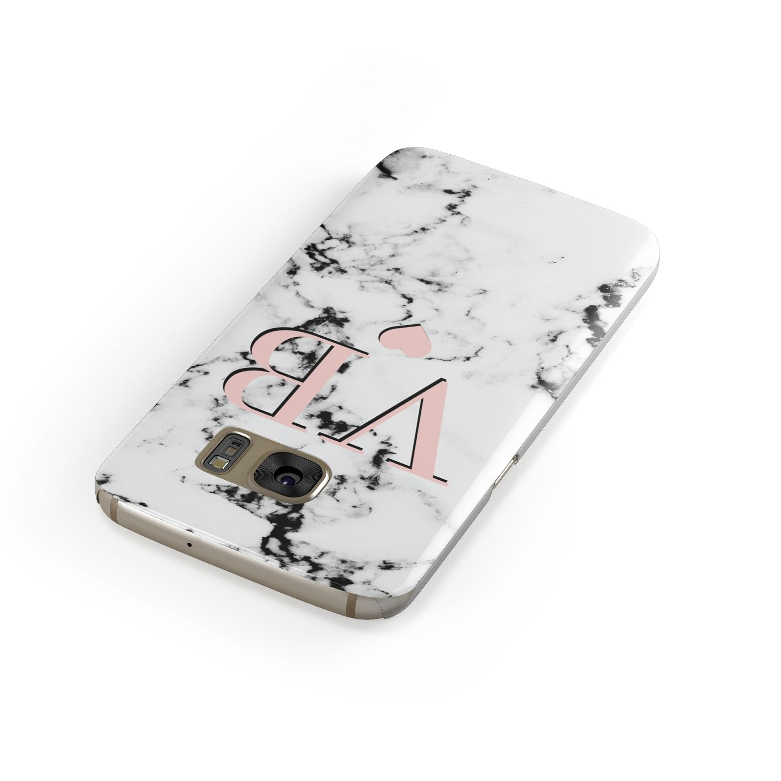 Personalised Coral Heart Initial Marble Samsung Galaxy Case Front Close Up
