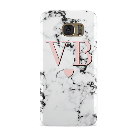 Personalised Coral Heart Initial & Marble Samsung Galaxy Case