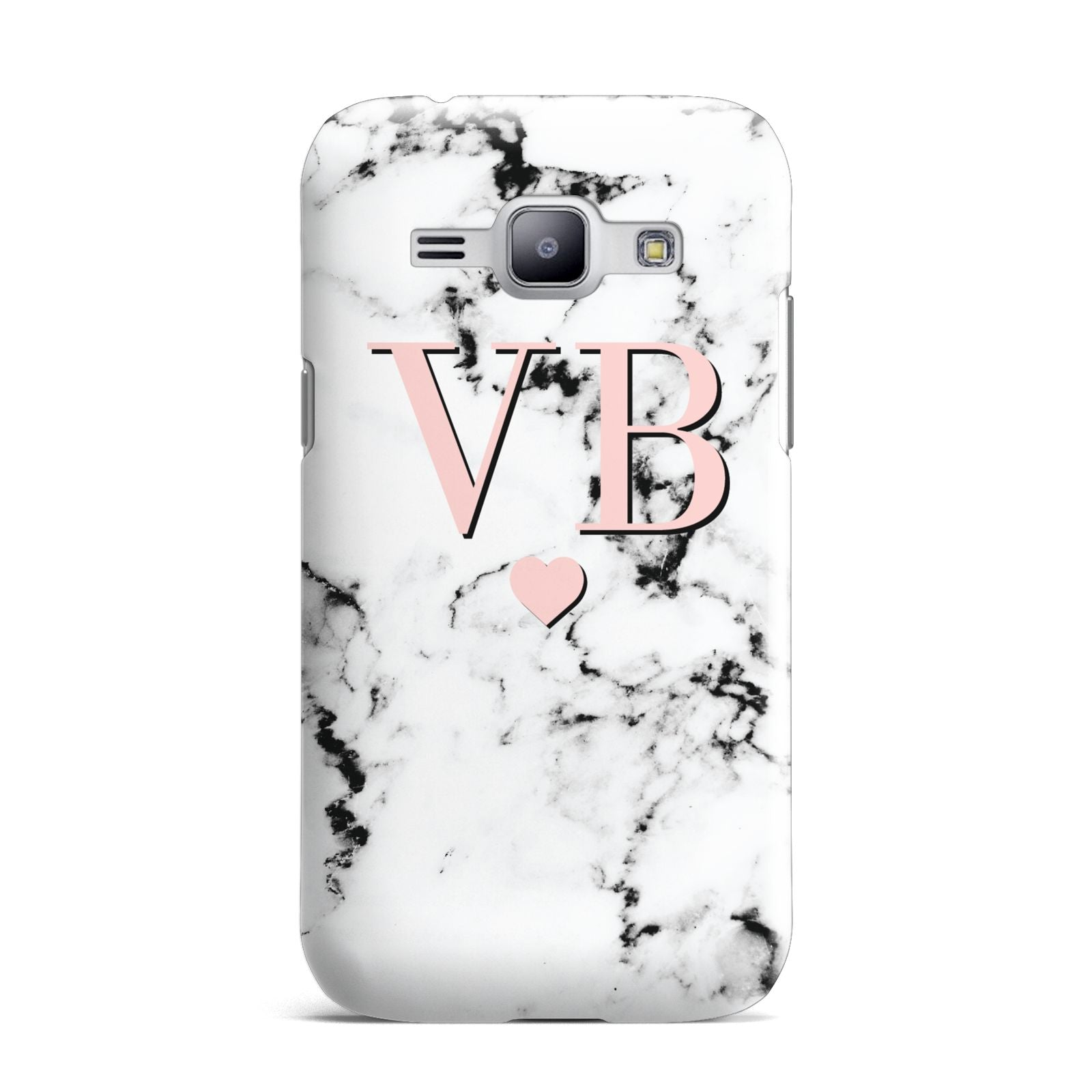 Personalised Coral Heart Initial Marble Samsung Galaxy J1 2015 Case