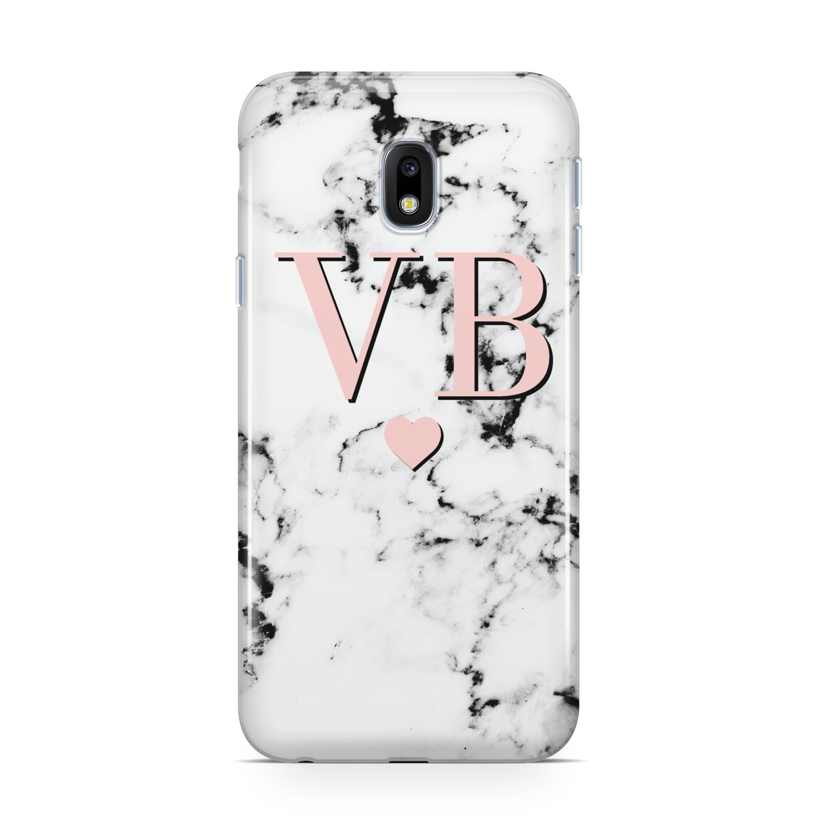 Personalised Coral Heart Initial Marble Samsung Galaxy J3 2017 Case
