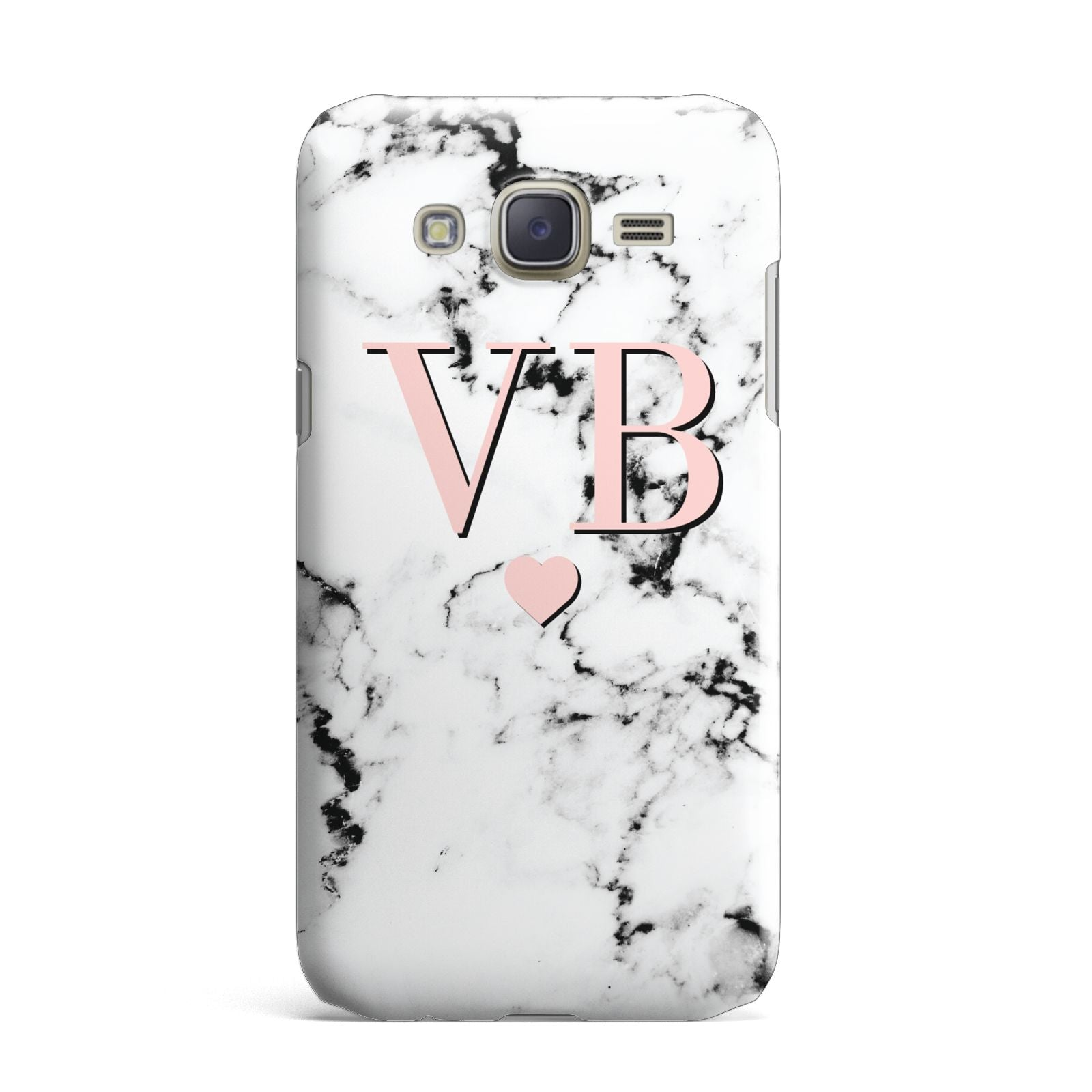 Personalised Coral Heart Initial Marble Samsung Galaxy J7 Case