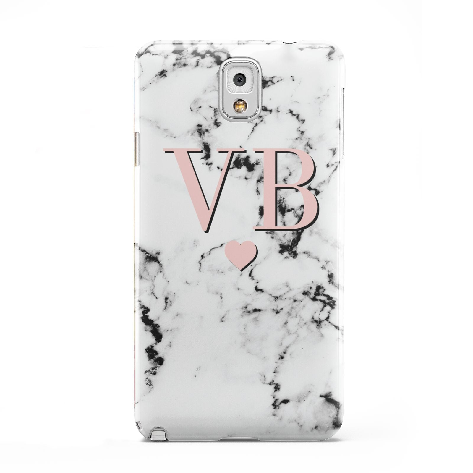 Personalised Coral Heart Initial Marble Samsung Galaxy Note 3 Case