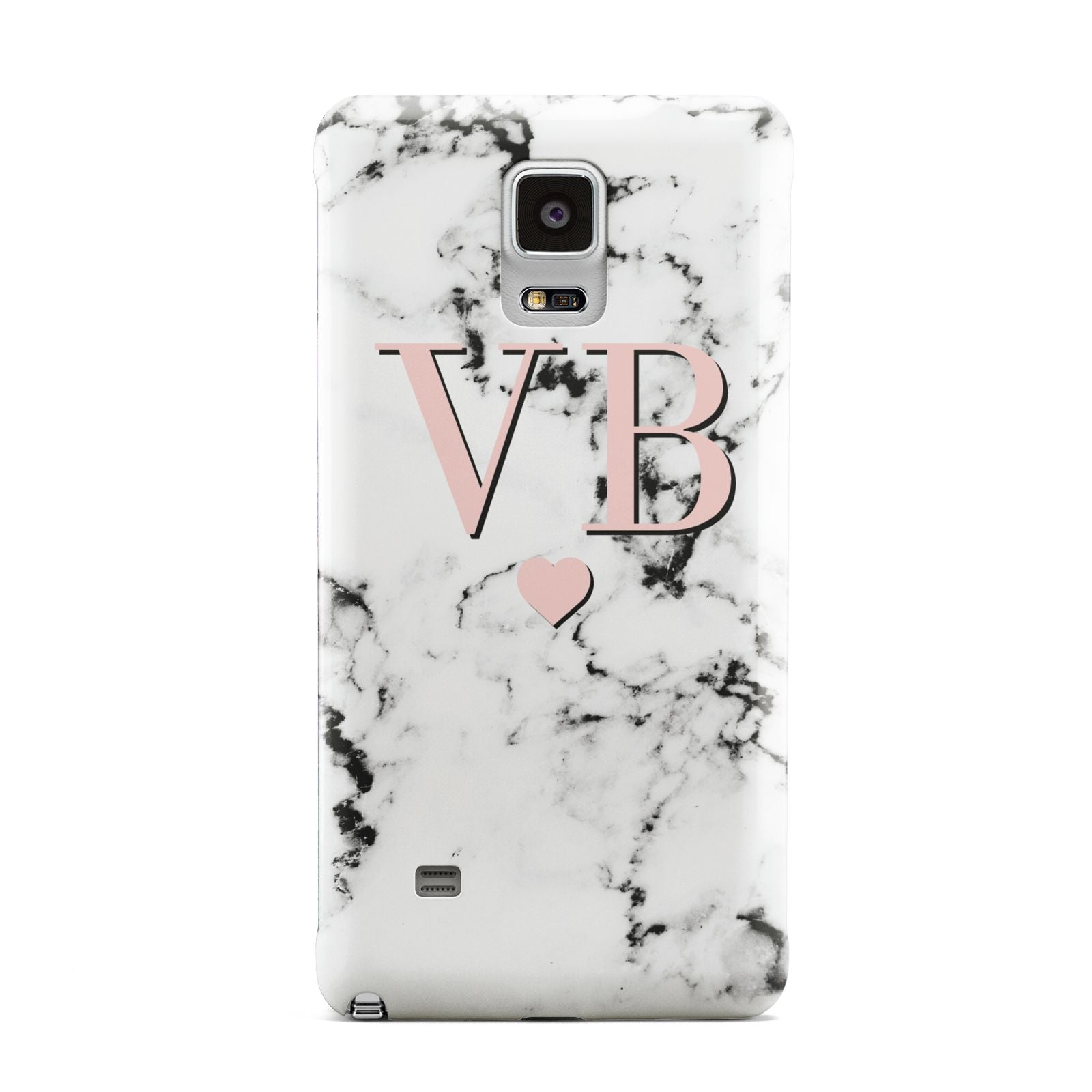 Personalised Coral Heart Initial Marble Samsung Galaxy Note 4 Case