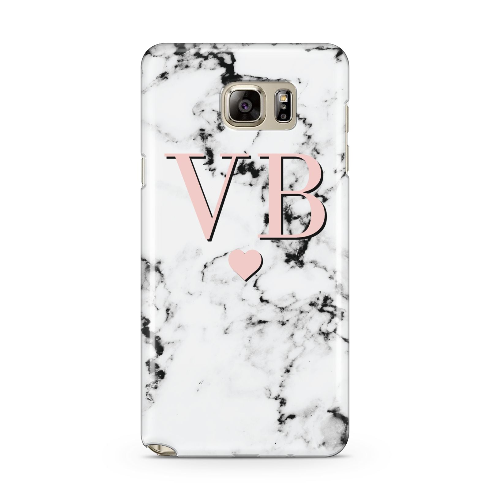 Personalised Coral Heart Initial Marble Samsung Galaxy Note 5 Case
