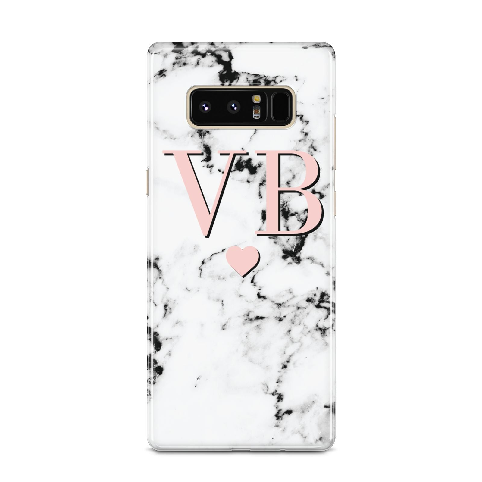 Personalised Coral Heart Initial Marble Samsung Galaxy Note 8 Case