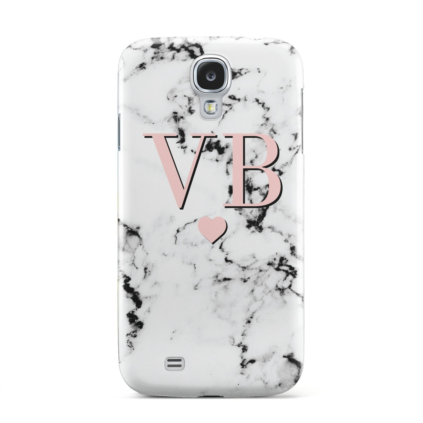 Personalised Coral Heart Initial Marble Samsung Galaxy S4 Case