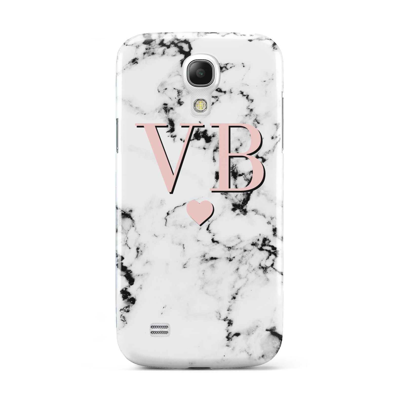 Personalised Coral Heart Initial Marble Samsung Galaxy S4 Mini Case