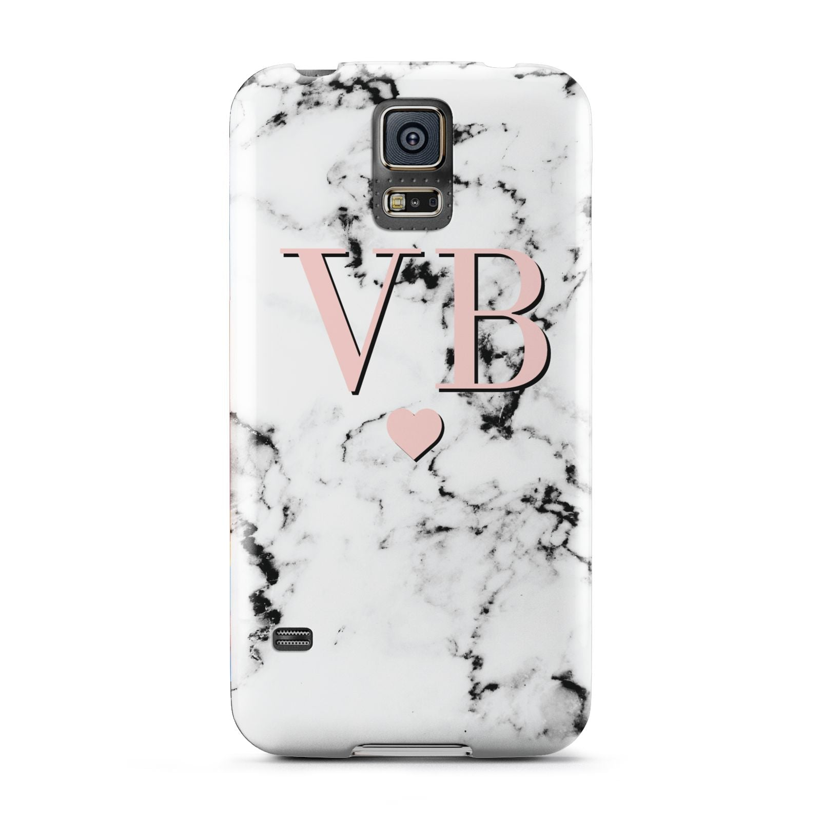 Personalised Coral Heart Initial Marble Samsung Galaxy S5 Case