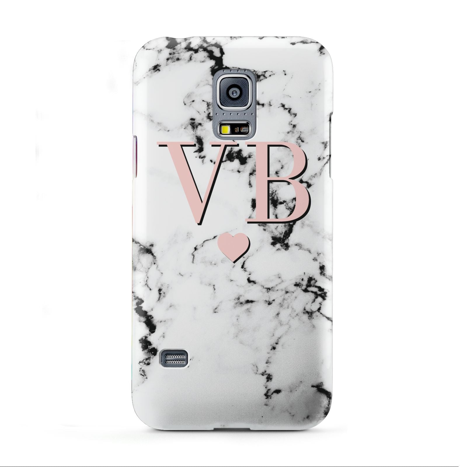 Personalised Coral Heart Initial Marble Samsung Galaxy S5 Mini Case