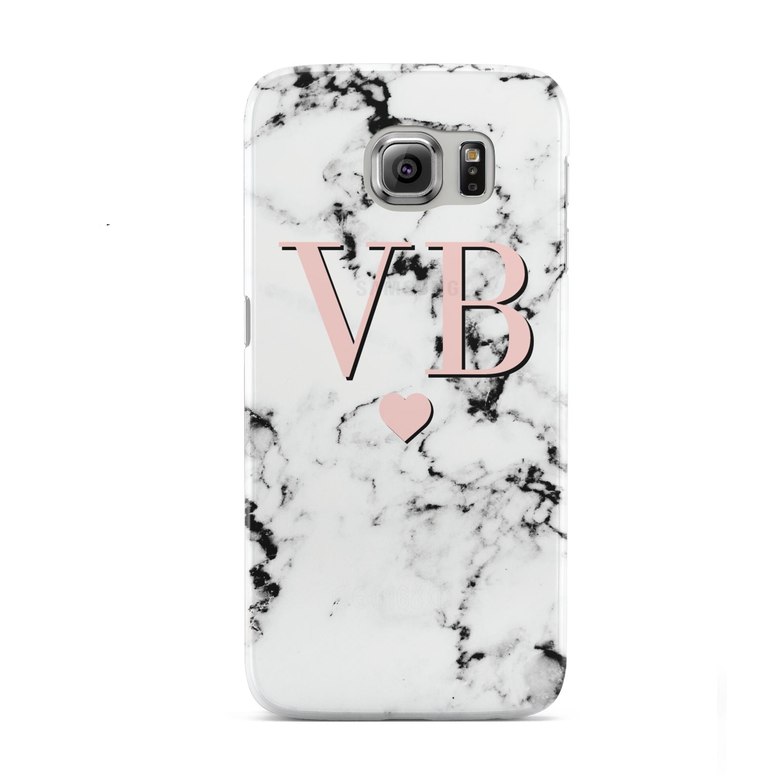 Personalised Coral Heart Initial Marble Samsung Galaxy S6 Case