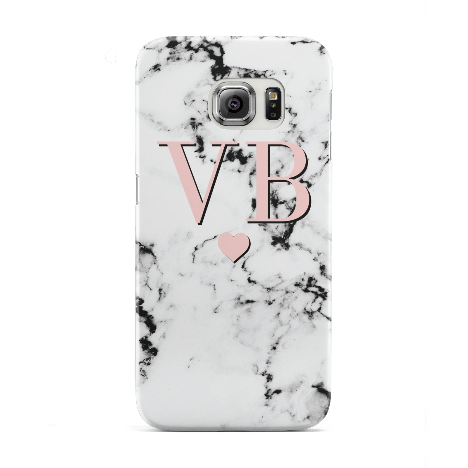Personalised Coral Heart Initial Marble Samsung Galaxy S6 Edge Case