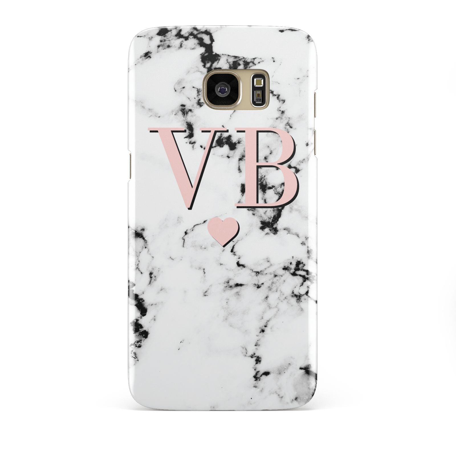 Personalised Coral Heart Initial Marble Samsung Galaxy S7 Edge Case