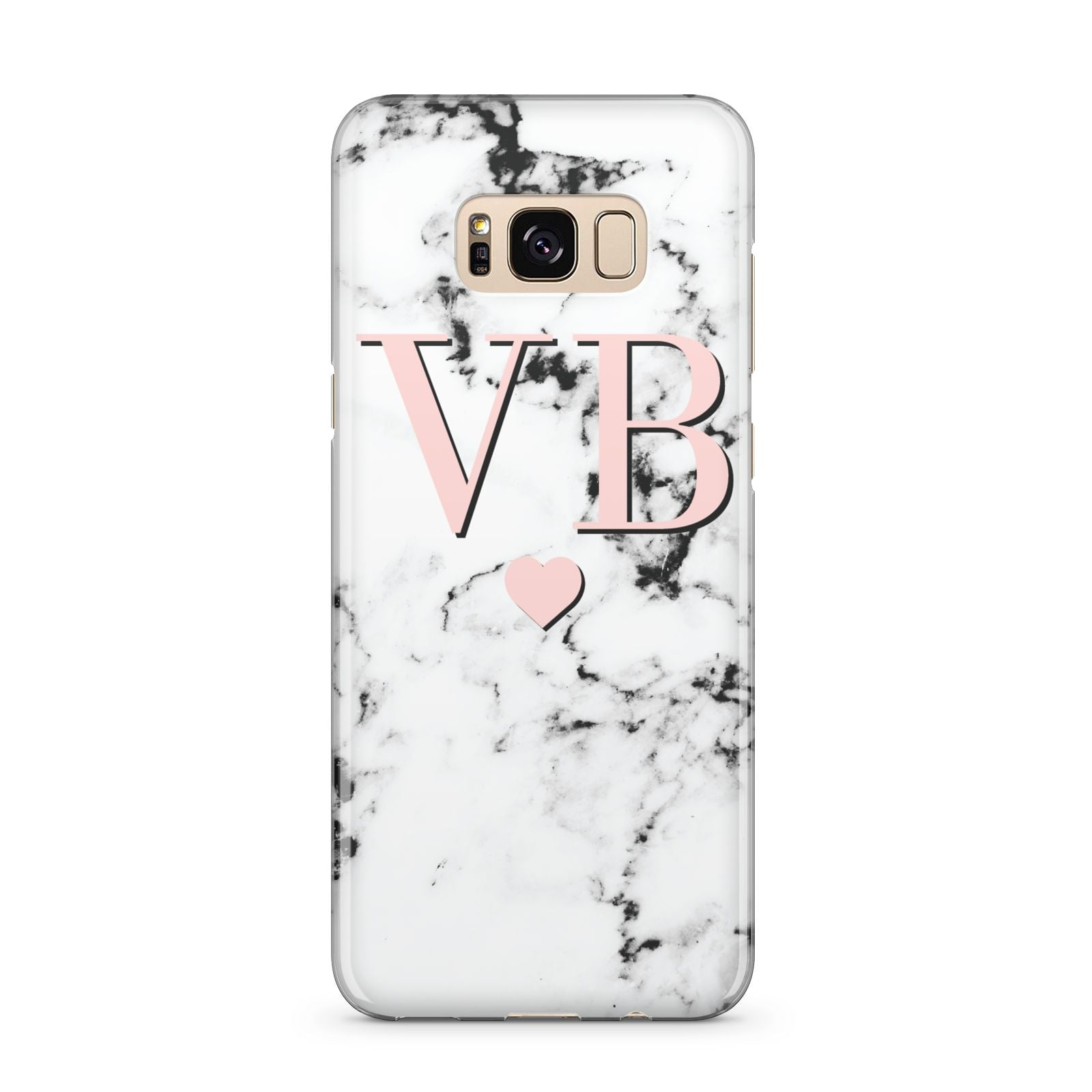 Personalised Coral Heart Initial Marble Samsung Galaxy S8 Plus Case