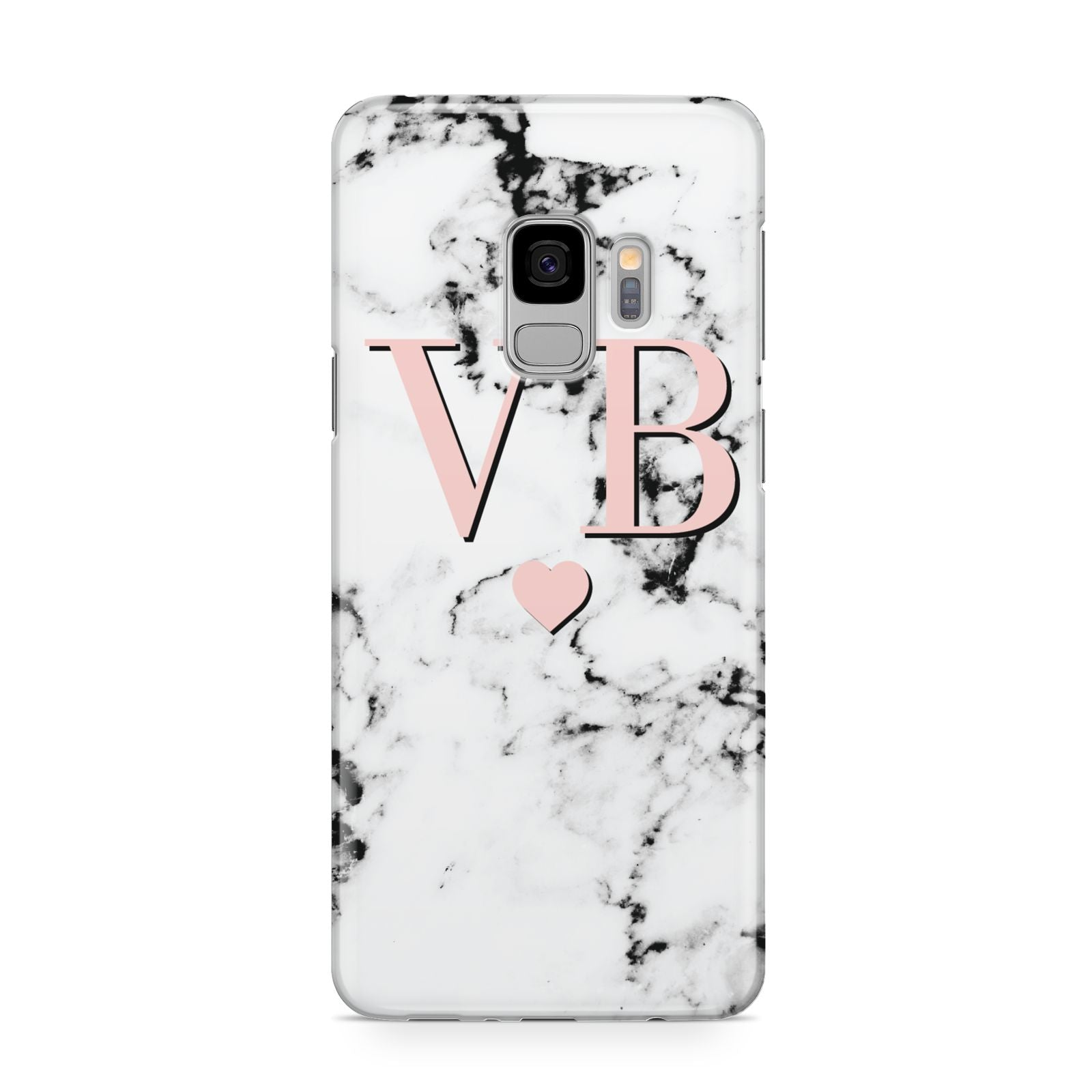 Personalised Coral Heart Initial Marble Samsung Galaxy S9 Case