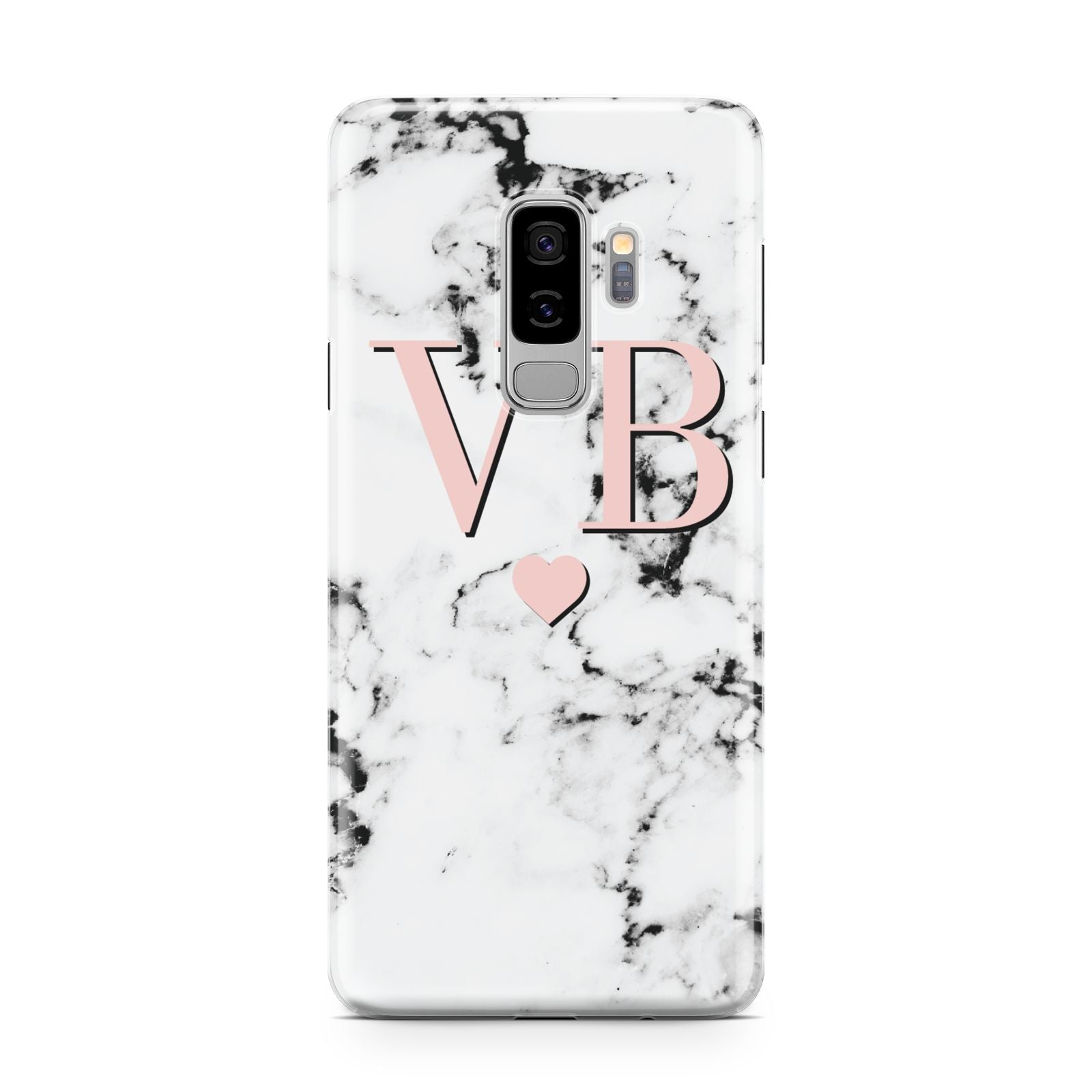 Personalised Coral Heart Initial Marble Samsung Galaxy S9 Plus Case on Silver phone