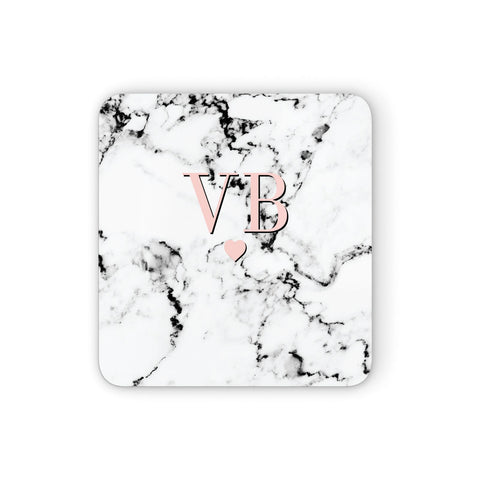 Personalised Coral Heart Initial & Marble Coasters set of 4