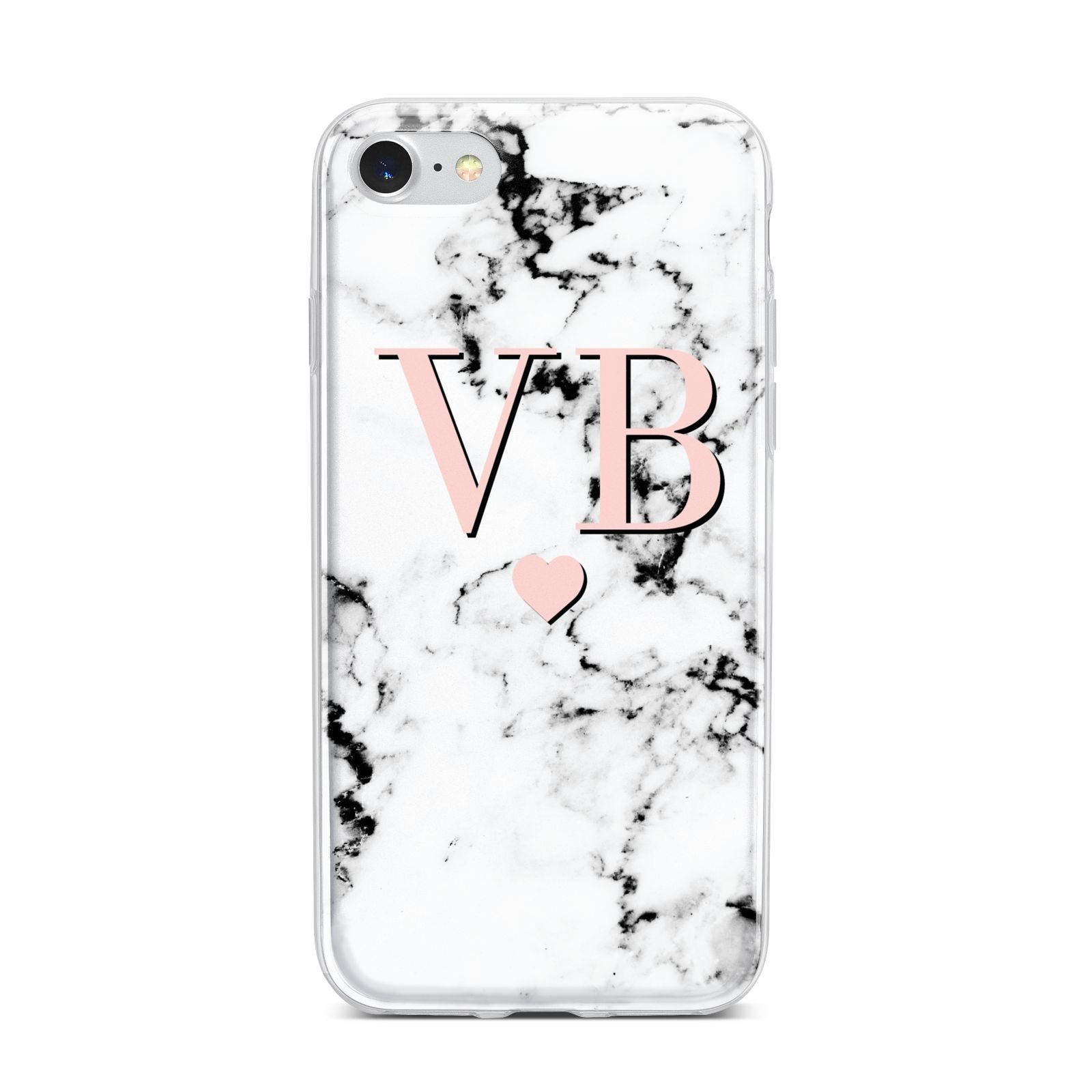 Personalised Coral Heart Initial Marble iPhone 7 Bumper Case on Silver iPhone