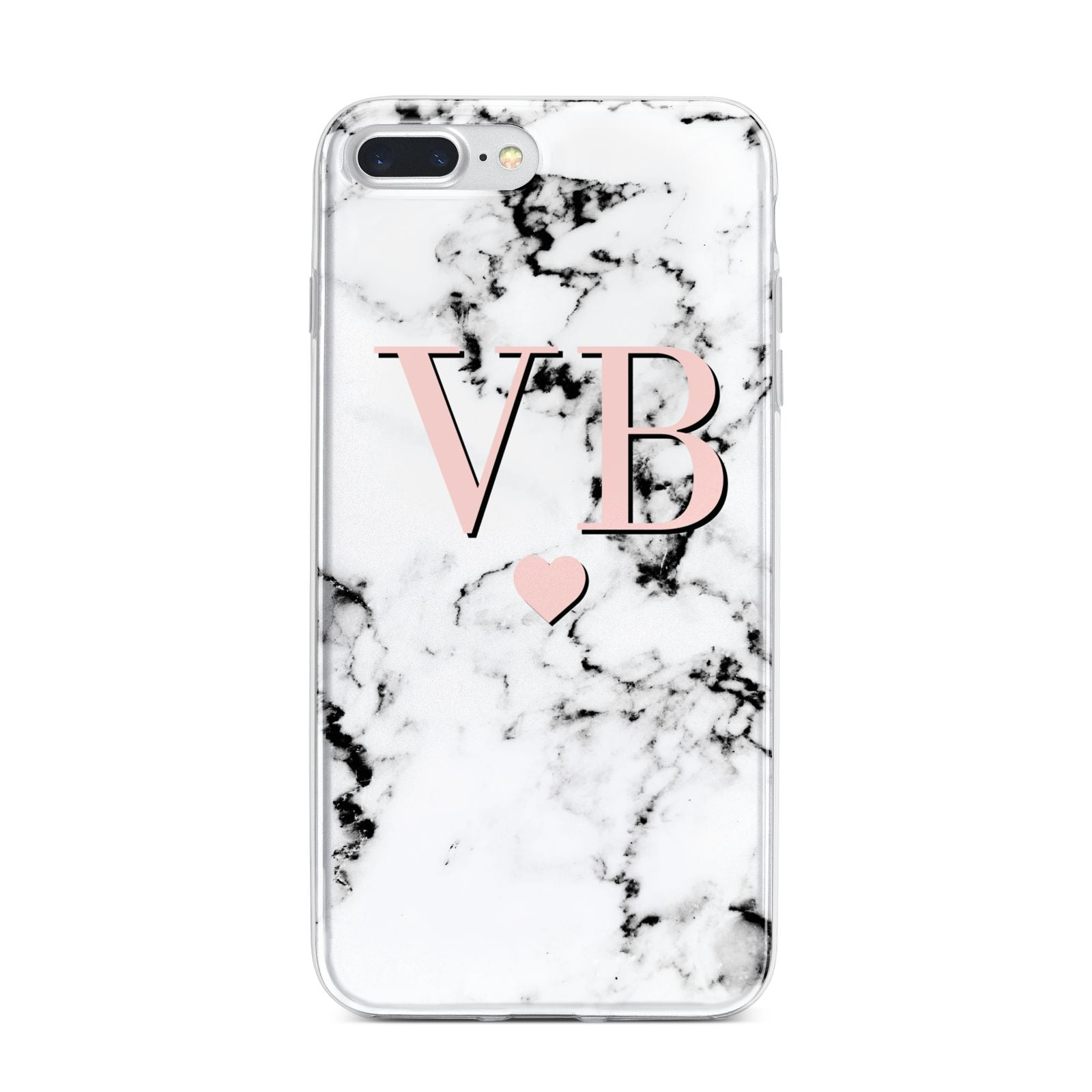 Personalised Coral Heart Initial Marble iPhone 7 Plus Bumper Case on Silver iPhone